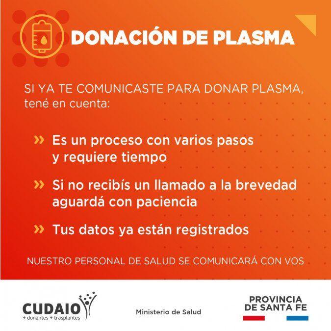 Coronavirus: afirman que aumentó el número de pacientes tratados con plasma y piden más donantes