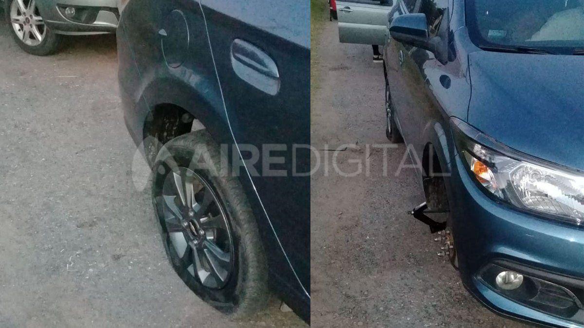 Se iban de vacaciones y rompieron tres ruedas por una viga tirada en la autopista Santa Fe Rosario