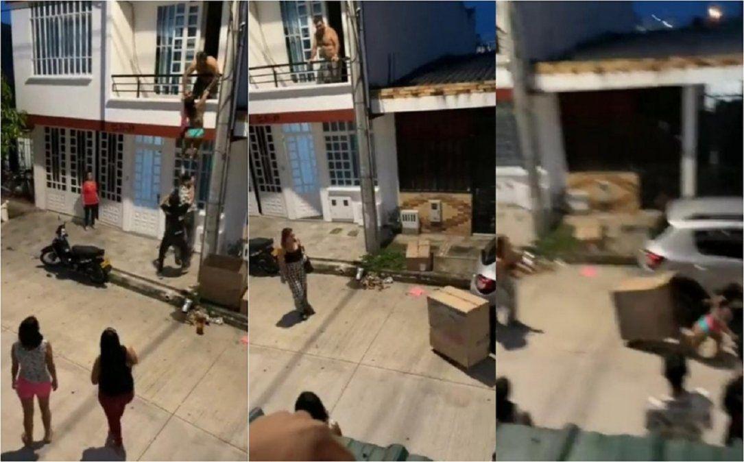 Video viral muestra como una mujer escapó por un balcón disfrazada de caja: ¿infidelidad?