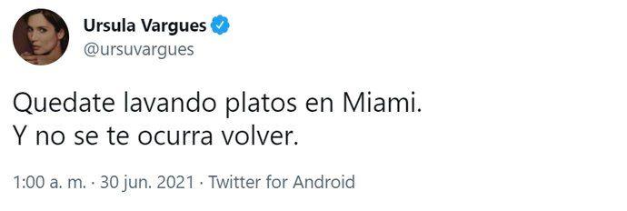 El tuit de Úrsula Vargues.