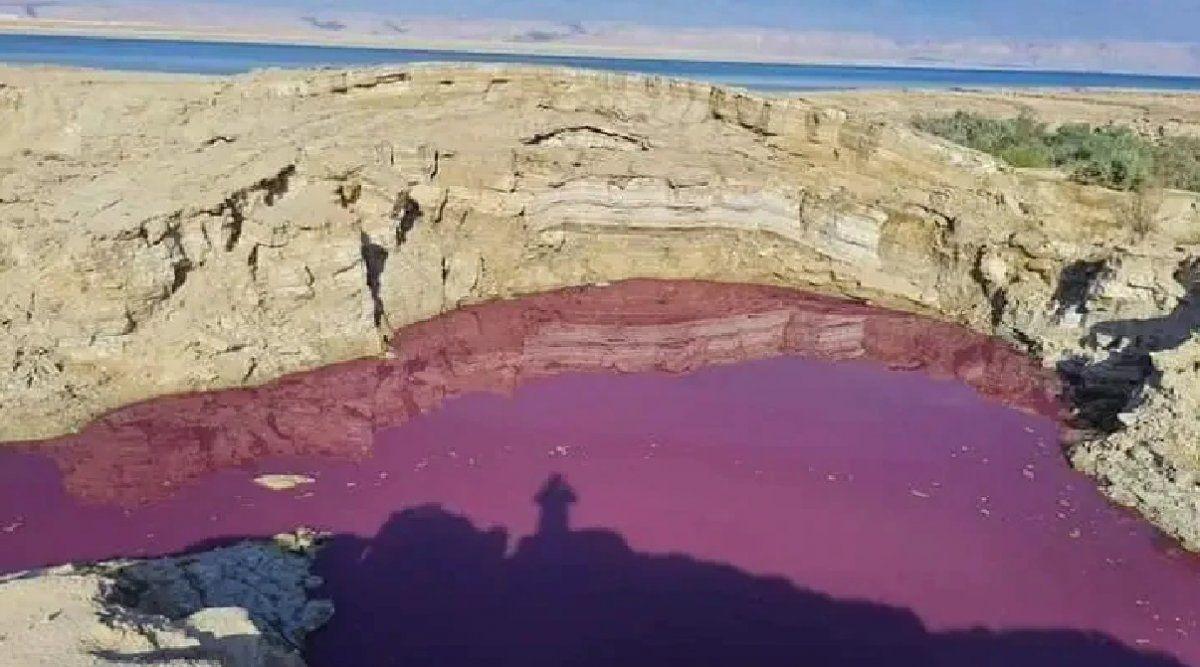 Misterio en el mar Muerto: un brazo se tiñó de rojo y no encuentran explicación