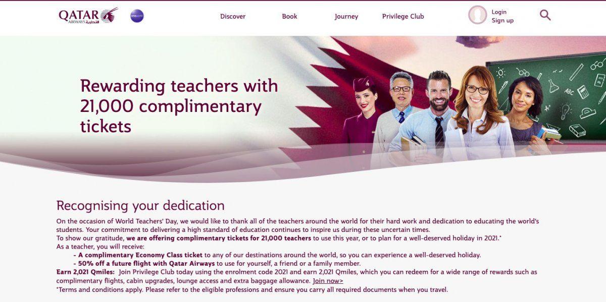 Qatar Airways regalará pasajes de avión a docentes de Argentina