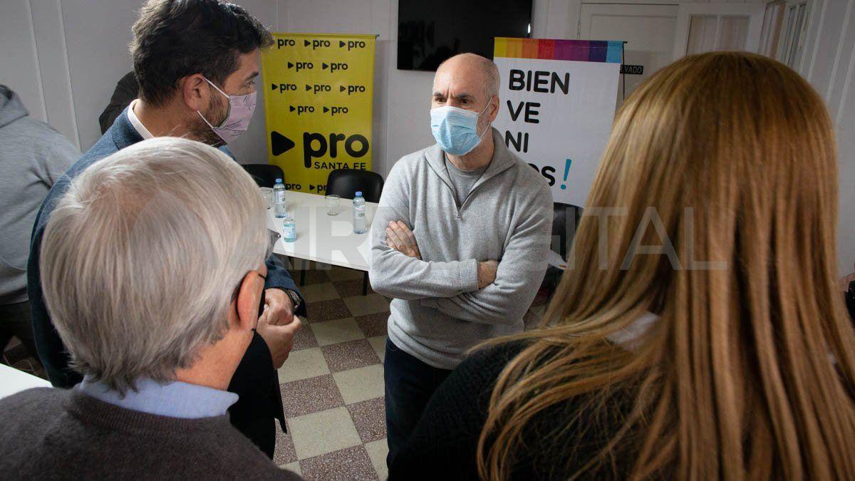 Horacio Rodríguez Larreta visitó el local del PRO en Santa Fe este sábado.