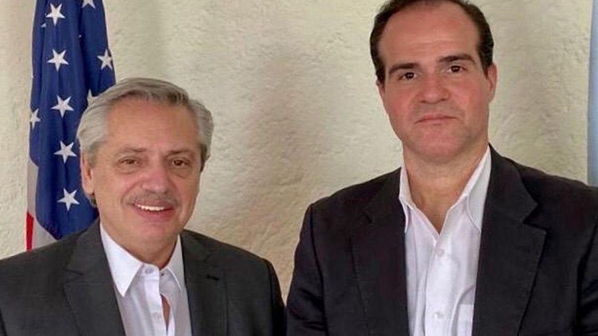 Alberto Fernández junto alelecto presidente delBanco Interamericano de Desarrollo (BID)