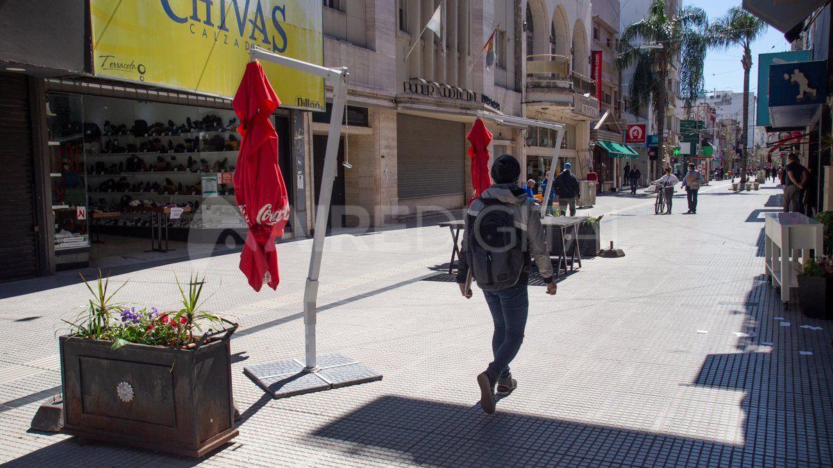 La peatonal santafesina tras las medidas restrictivas del 12 de septiembre.