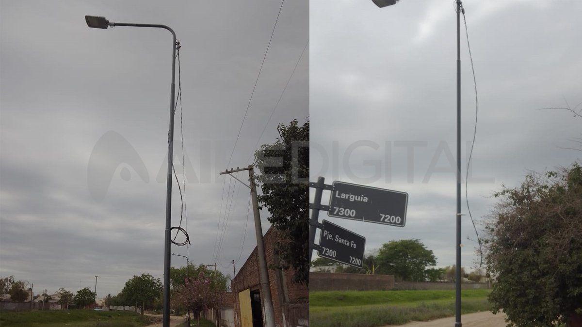 El alumbrado público vandalizado es una escena que se repite en varios puntos de la ciudad.