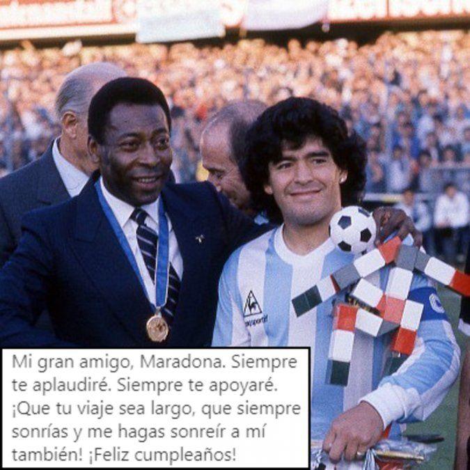 El astro brasilero le deseó felicidades a Diego Maradona