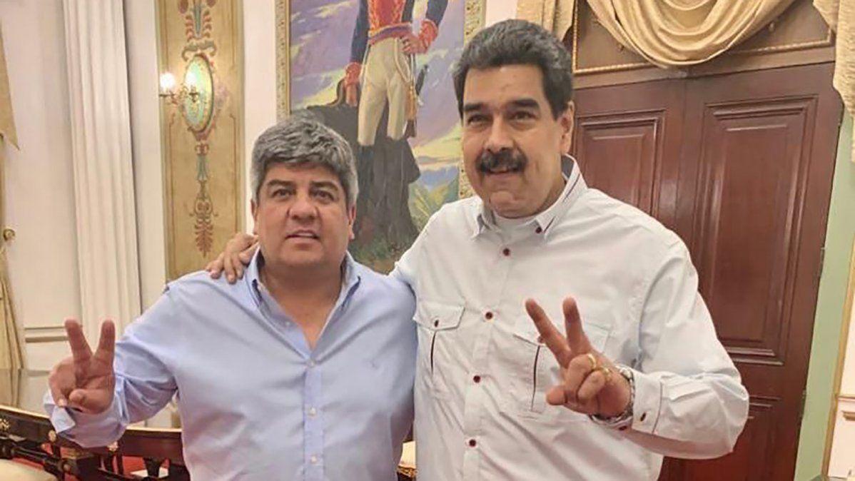 Pablo Moyano junto a Nicolás Maduro en Venezuela.