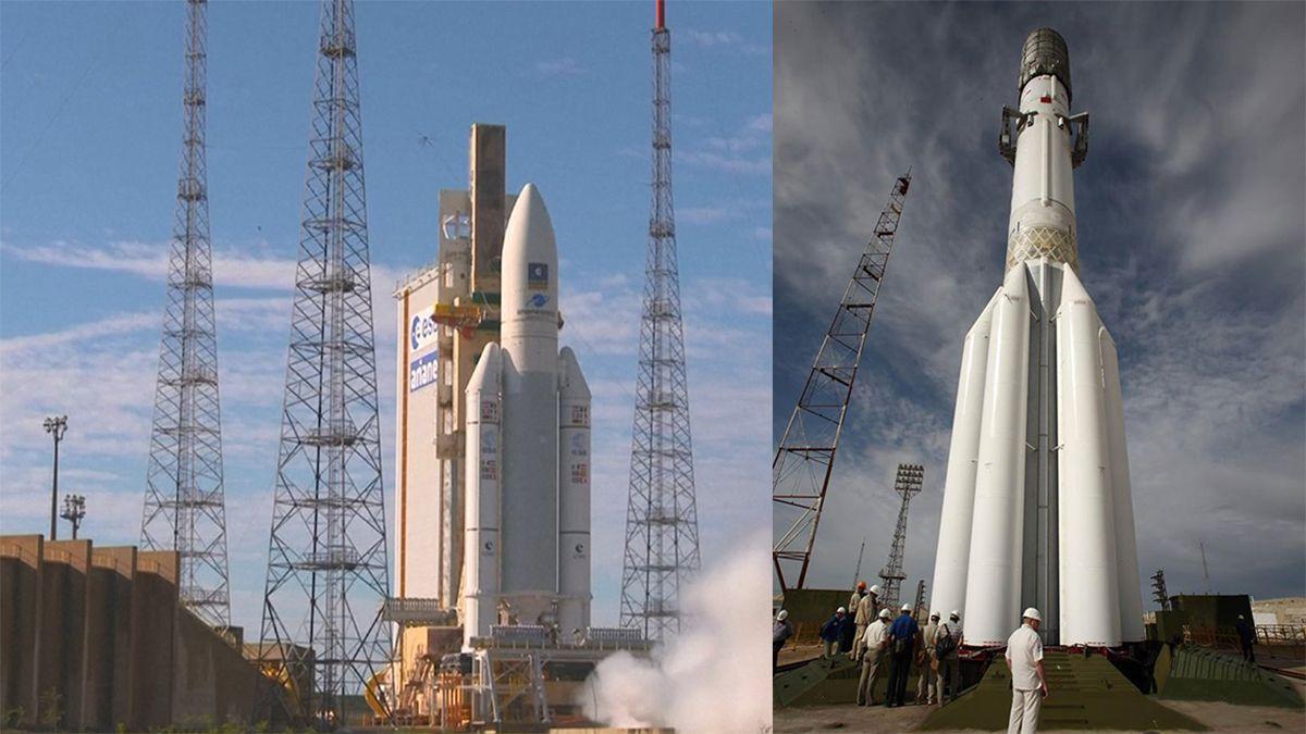El cohete Ariane 5 a la izquierda, de 59 metros. A la derecha, el cohete ruso Protón, de 53 metros.