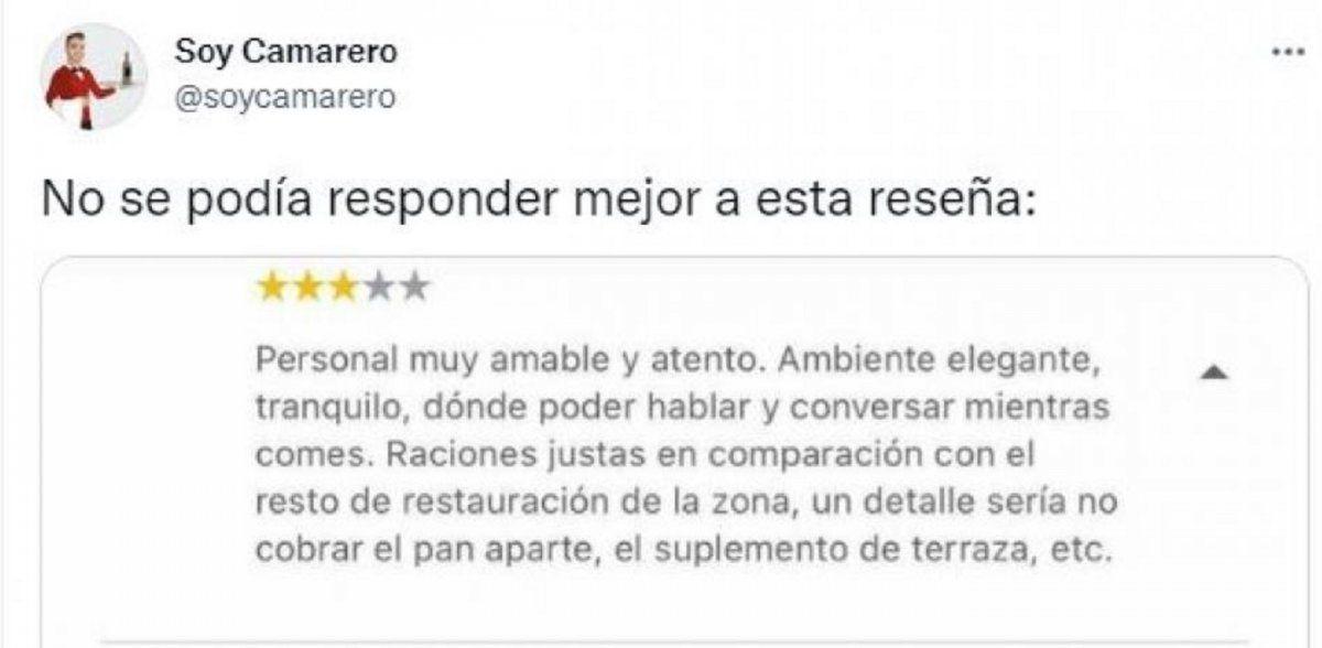 Viral: un restaurante respondió le de manera irónica al cliente que lo criticó por cobrar el pan aparte.