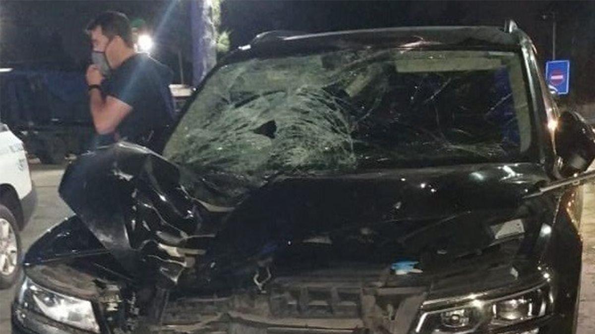 Así quedó el auto del ex arquero después del accidente. Twitter