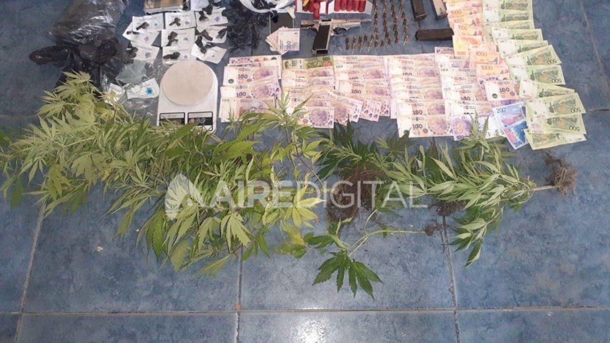 Plantas, un arma con municiones y dinero. Los elementos secuestrados durante el operativo.
