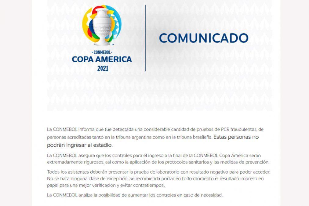 El comunicado de la Conmebol informando la detección de test falsificados.