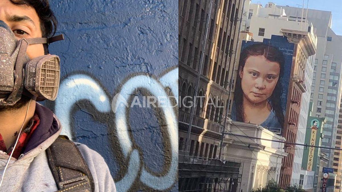 La historia detrás del mural de Greta Thunberg, que pintó el santafesino Niño de Cobre